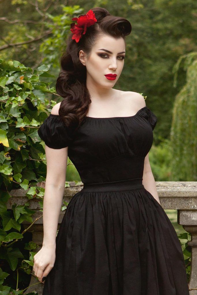 Pinup Girl Clothing | Gathered Peasant Top in Black Stretch Sateen – pinupgirlclothing.com