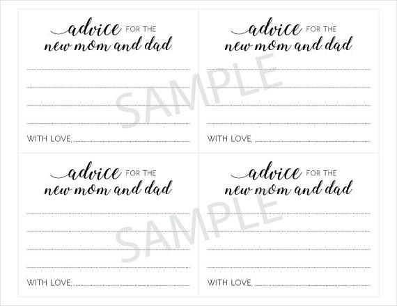 Baby Advice Cards For New Mom And Dad Shower Pas Guest Book Alte