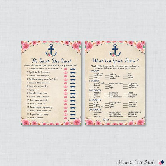 nautical bridal shower games package with six games printable navy anchor nautical bridal shower ga
