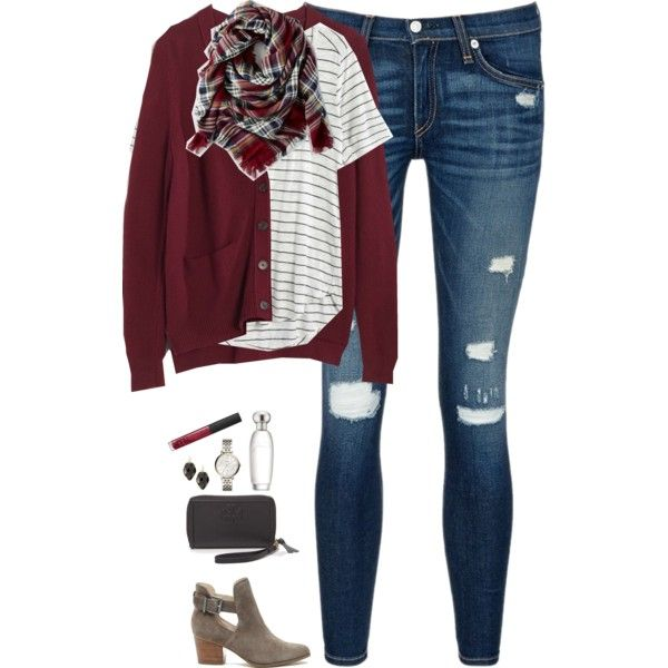 Burgundy cardigan, plaid scarf & striped tee