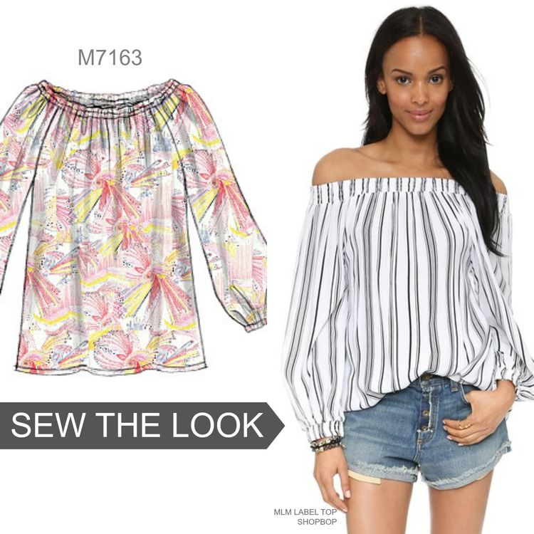 The off-the-shoulder look continues to be on-trend through summer and fall. Sew the look with McCall's M7163 top pattern.
