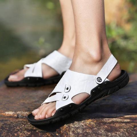 7684085e542d Casual Walking Sandal Men s Shoes-Sandal-LAISUMK-Black-6-TouchyStyle LAISUMK  Summer Quality Genuine Leather Male Shoes For Men Sandals Adult Brand  Casual ...