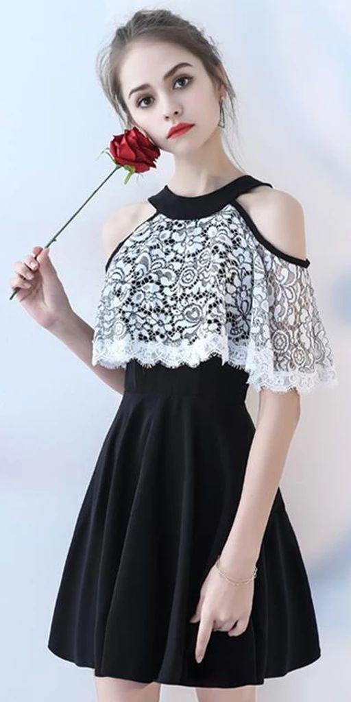 Chiffon Homecoming Dress, A-Line Knee-Length Homecoming Dress, Lace Homecoming Dress, LB0834