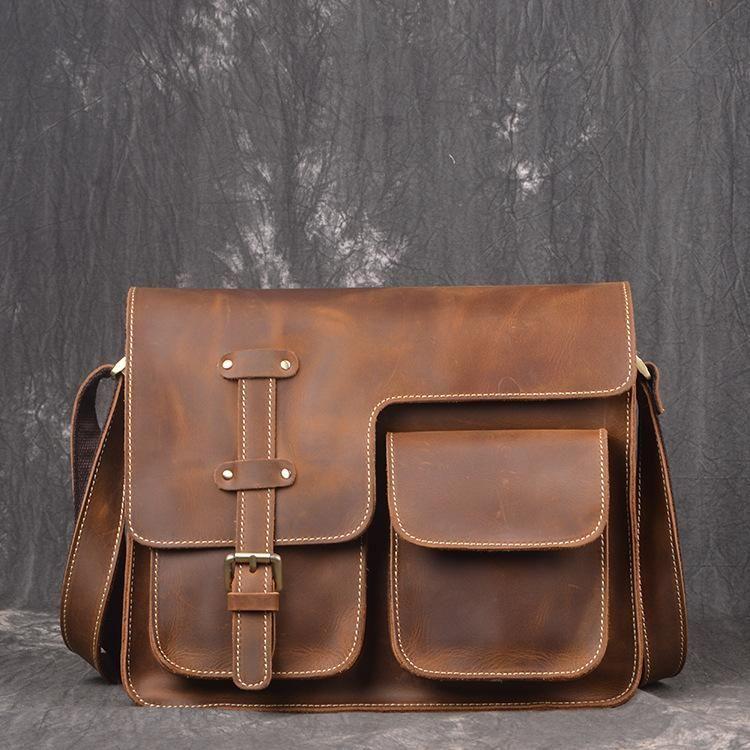 4fbe00ee39 Handmade leather men messenger large vintage shoulder bag for men