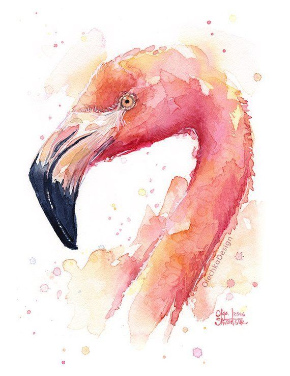 Flamingo Watercolor Painting, Flamingo Art Print, Pink Bird, Tropical Print, Flamingo Print, Whimsic