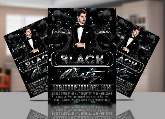 all black party invitation black birthday party flyer inv