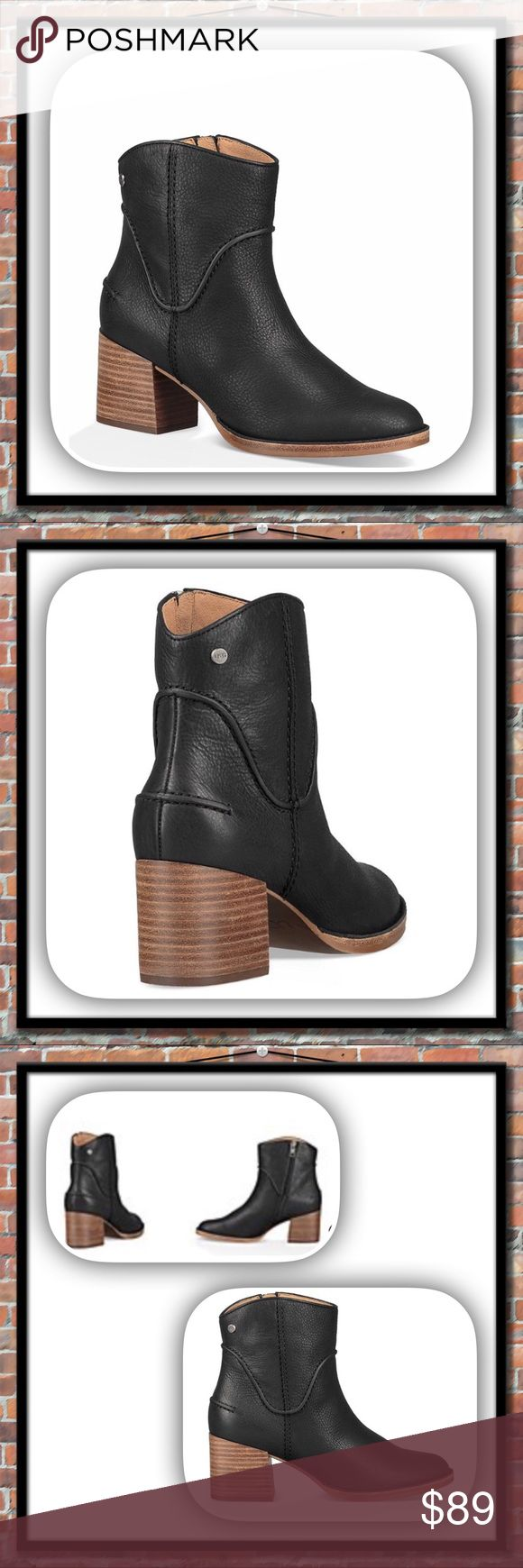 b64fa96e4f3 🌼 UGG Annie Black Leather Ankle Boots 🌼 Stylish and comfo