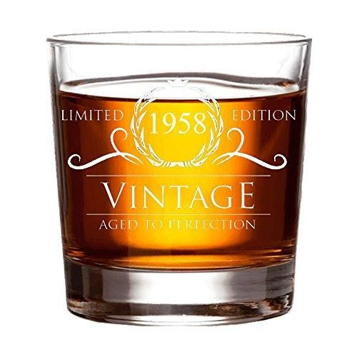 1958 60th Birthday Gifts For Women And Men Whiskey Glass 60 Anniversary Gift Husband Wife 15 Oz Whisky Glasses Ideas Mom Dad