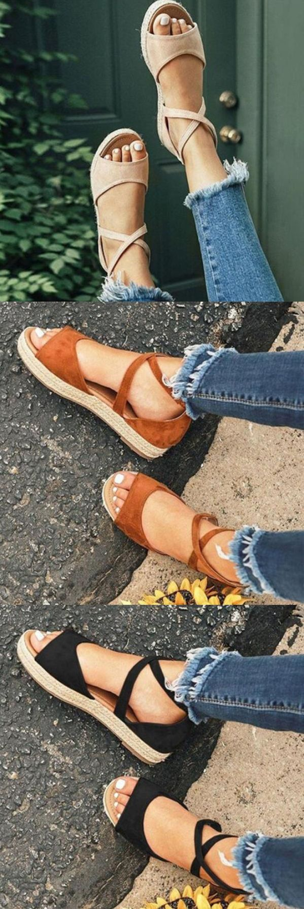 $29.99 USD Large Size Women Fashion Flat Heel Strap Flats Sandals Lace-up Shoes