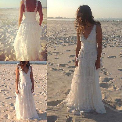 Sexy V Ausschnitt Spitze Brautkleider Strand Hochzeitsklei