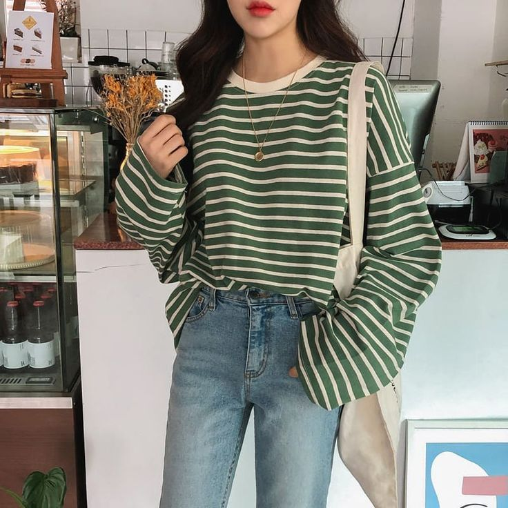 Chany Boxy Striped Tee @ KOODING.com, the best in Korean and global fashion.