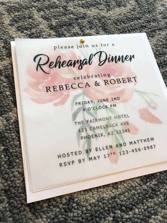 custom rehearsal dinner invitations vellum invitations