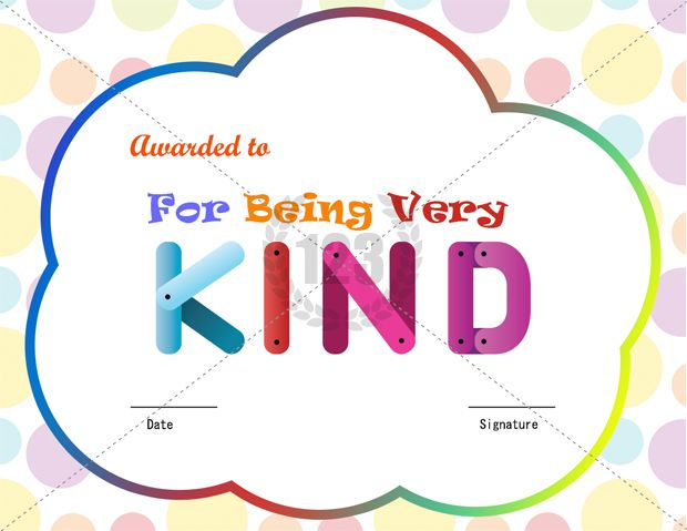 For Being Kind Award Certificate Template Download Free