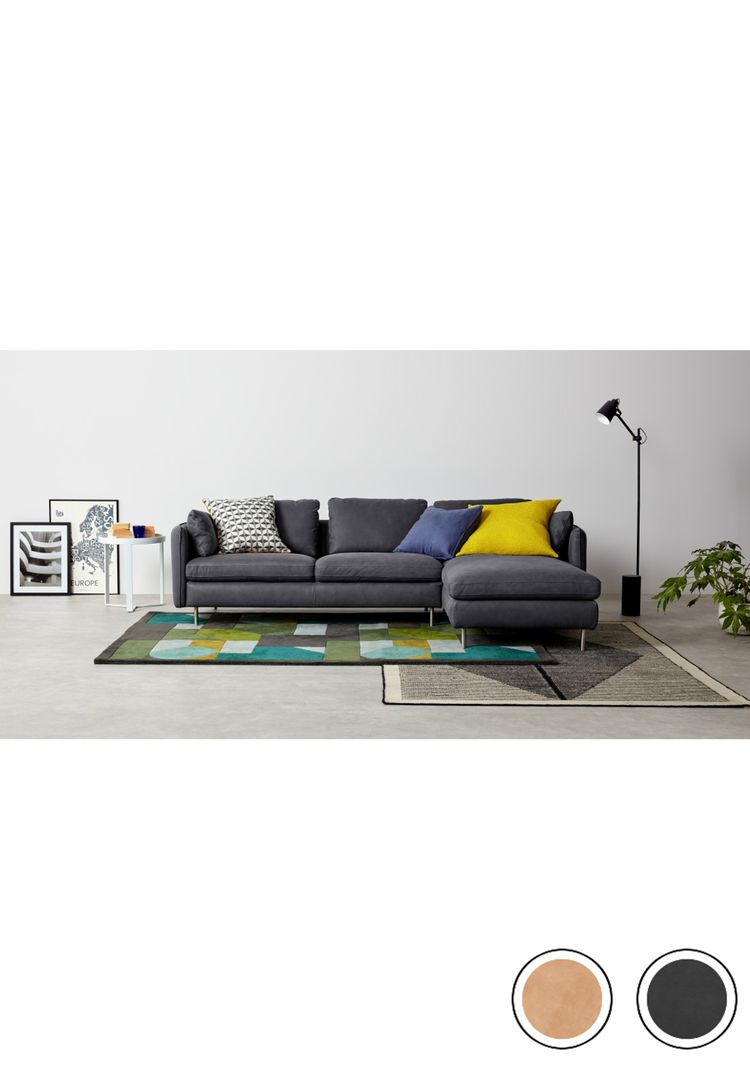 MADE 3 Seater Chaise End Corner Sofa Grey Leather Vento Sofas Collection From MADECOM