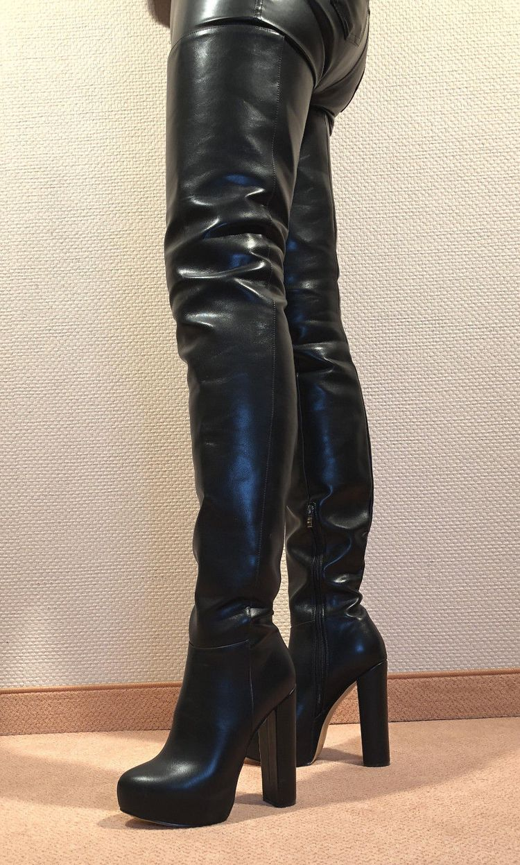 ab082ad83fc3e0 Gr.45 TOP! Exclusive Sexy Women s Shoes Over the Knee Boots Stiletto Boots  Men