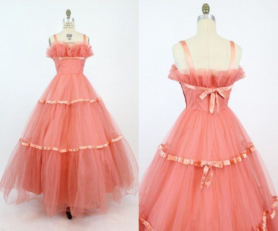 87c89e9f3d3 50s Emma Domb Gown XS   1950s Cupcake Tulle Dress   Coral Beauty Dress