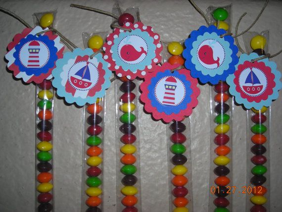12 Nautical Candy Treat Bags Hang Tags Toppers Stix S Sailboat Whale Personalized Birthday Party Favors Baby Shower Boys Red Blue