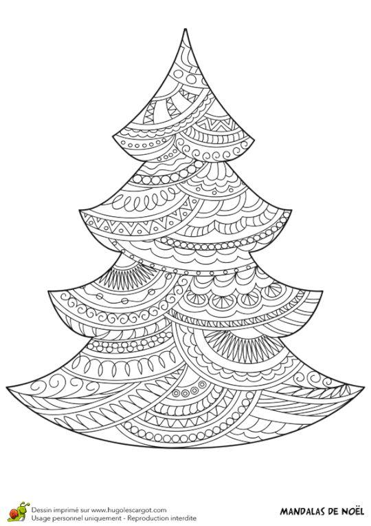 Coloriage d\'un mandala sapin de Noël