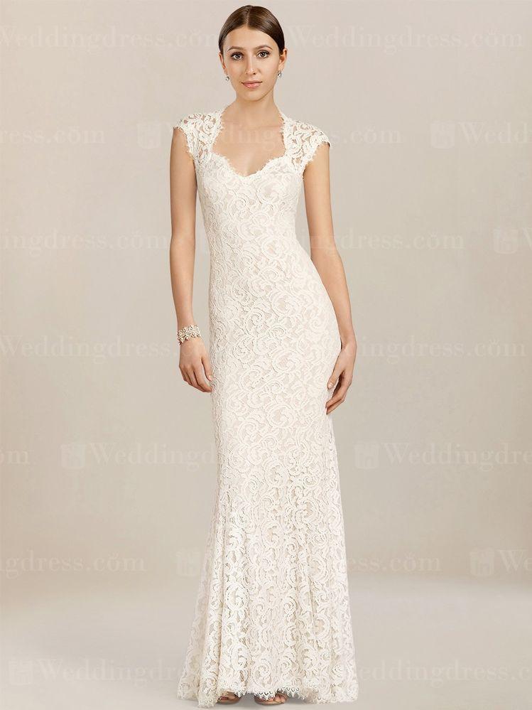 0bae358c7f Cap Sleeves Lace Wedding Dress LC190