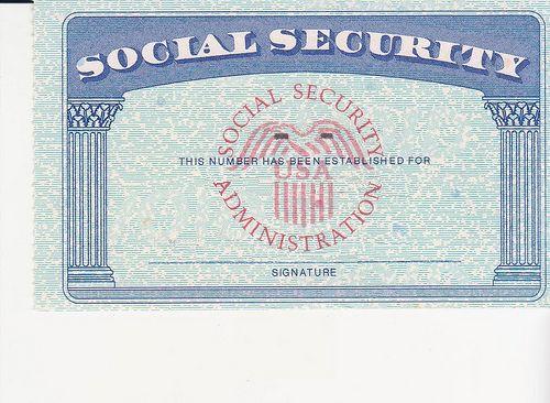 Blank Security Social Card Color Ssc