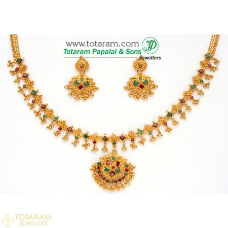 d690488a21 Emerald necklace - 22K Gold Indian Jewelry in USA