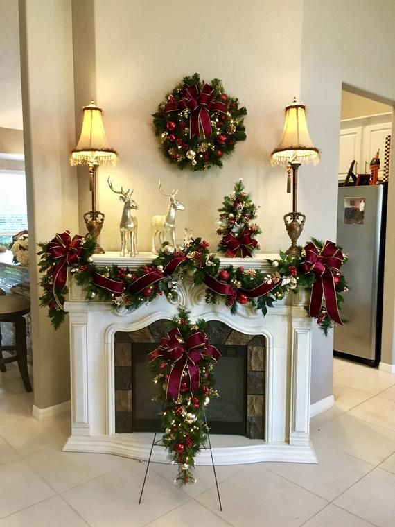 4 PC Set Christmas Wreath, Garland,   Burgundy  Ribbons , FREE SHIPPING, Cordless, Pre-lit, Original