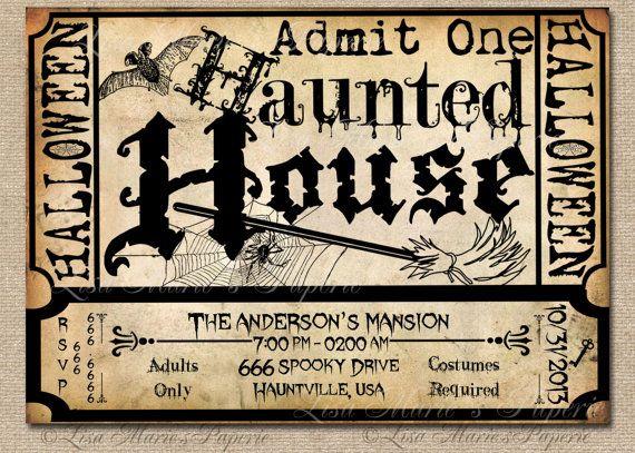 halloween haunted house ticket invitation handmade digita