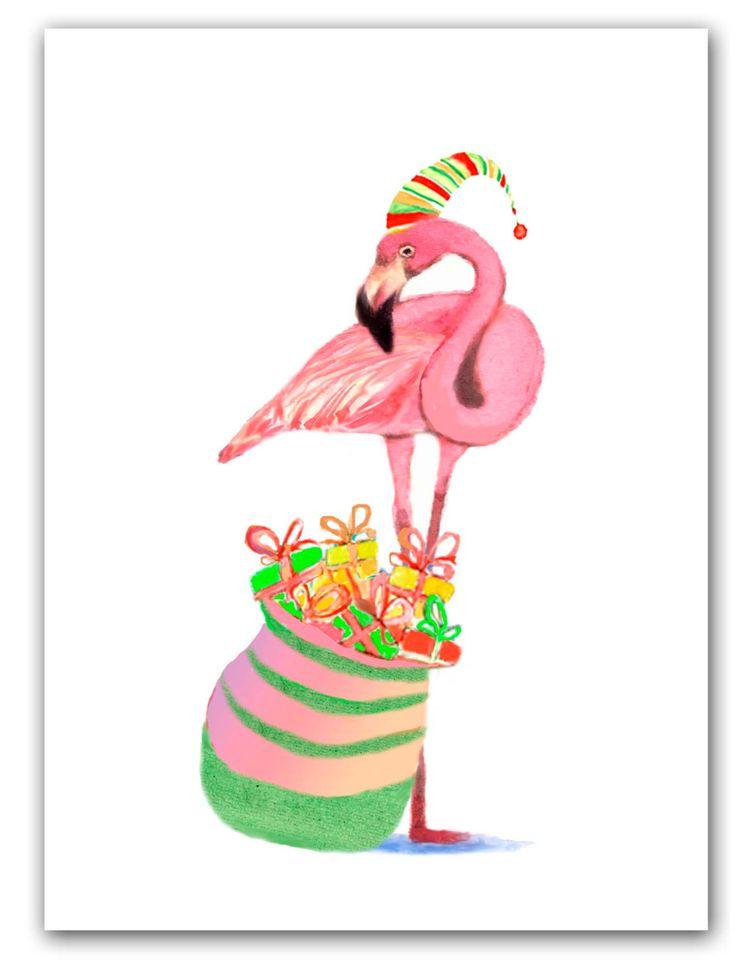 Flamingo Christmas cards, Tropical Christmas, 10 per greet