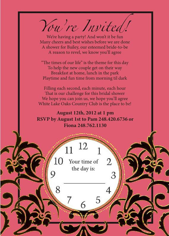 More Ideas Around The Clock Bridal Shower Custom By Bri