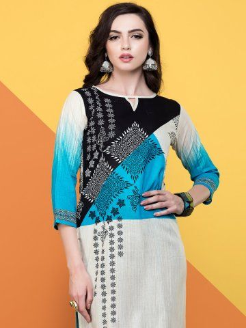 e1336d0c1a4 Spirit White   Blue Cotton Kurti -