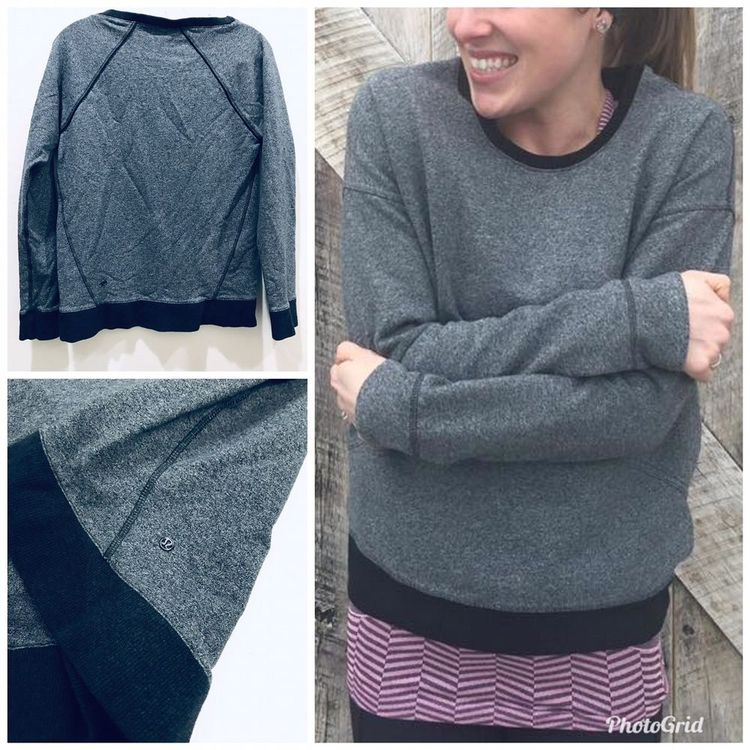 bb72e305ff68c Lululemon Crew Love Pullover Sz 6 Heathered Speckled Black Gray LS Top  #Lululemon #ShirtsTops