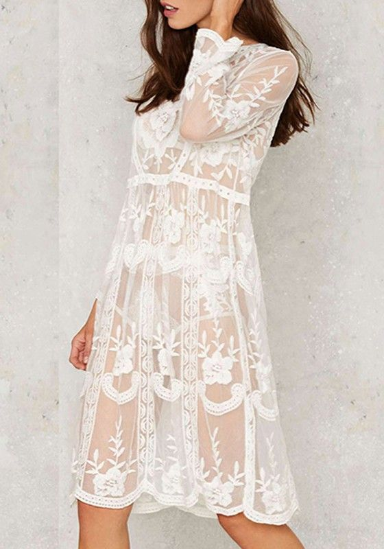 White Flowers Print Lace Hollow-out Grenadine See-through Sexy Midi Dress