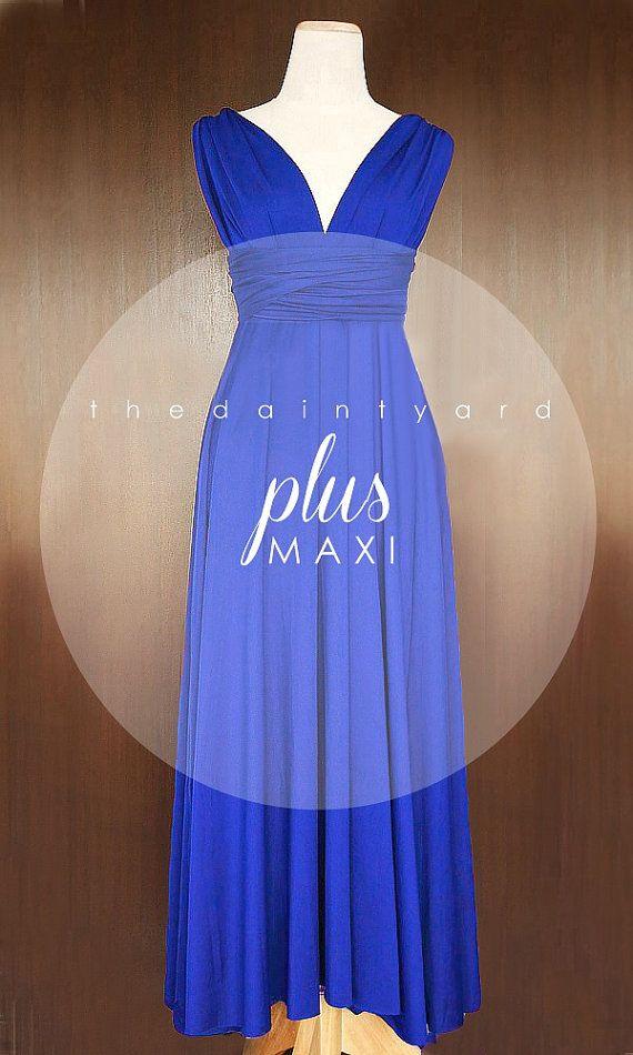 ee6bb3fd3d4ac MAXI Plus Size Cobalt Blue Bridesmaid Convertible Dress Inf