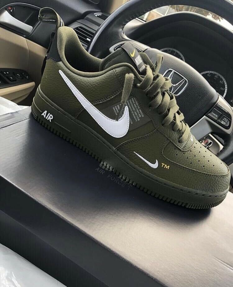 Nike Air Force One 1 Utility '07 LV8 Size 10 Green Olive Canvas White AJ7747-300 #fashion #clothing #shoes #accessories #mensshoes #athleticshoes (ebay link)
