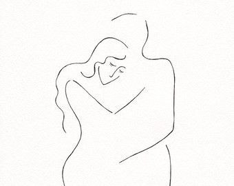 Original Lovers Drawing Couple Making Love Sketch Black A