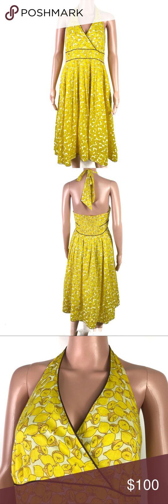bb5520df1f3 Spotted while shopping on Poshmark  Anthropologie Moulinette Soeurs Lemon  Halter Dress!  poshmark  fashion  shopping  style  Moulinette Soeurs   Dresses   ...