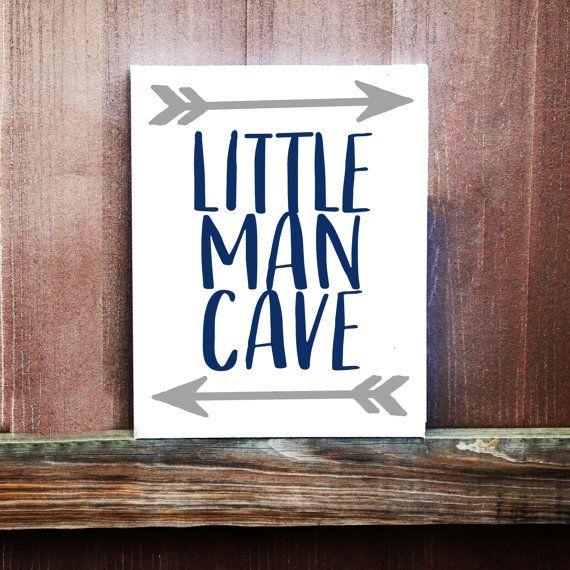 Little Man Cave Sign Baby Boy Nursery Decor Hand Painted Canvas Boys Room Handmade Shower Gift