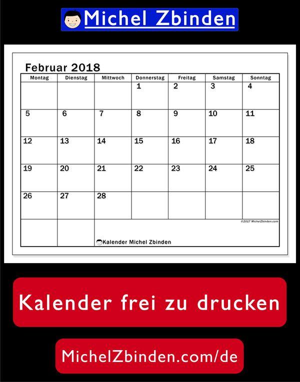 Calendario Michel Zbinden.Kalender Februar 2018 50ms