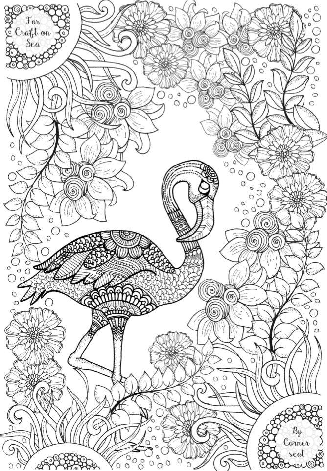 Flamingo Colouring Page