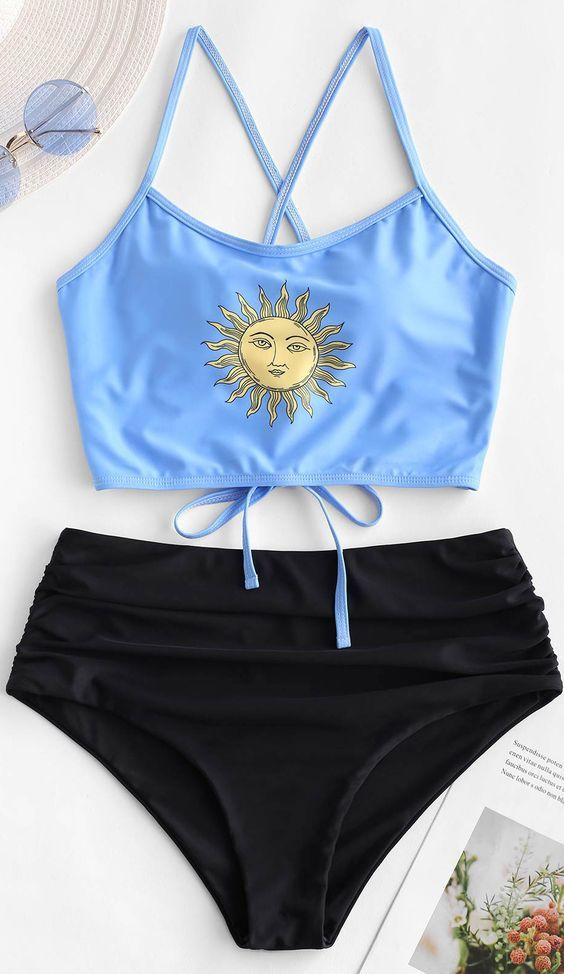 Style: Fashion  Swimwear Type: Tankini  Gender: For Women  Material: Nylon,Polyester,Spandex  Bra Style: Padded  Support Type: Wire Free  Collar-line: Spaghetti Straps  Pattern Type: Sun  Decoration: Lace up,Ruched  Waist: High Waisted  Season: Summer
