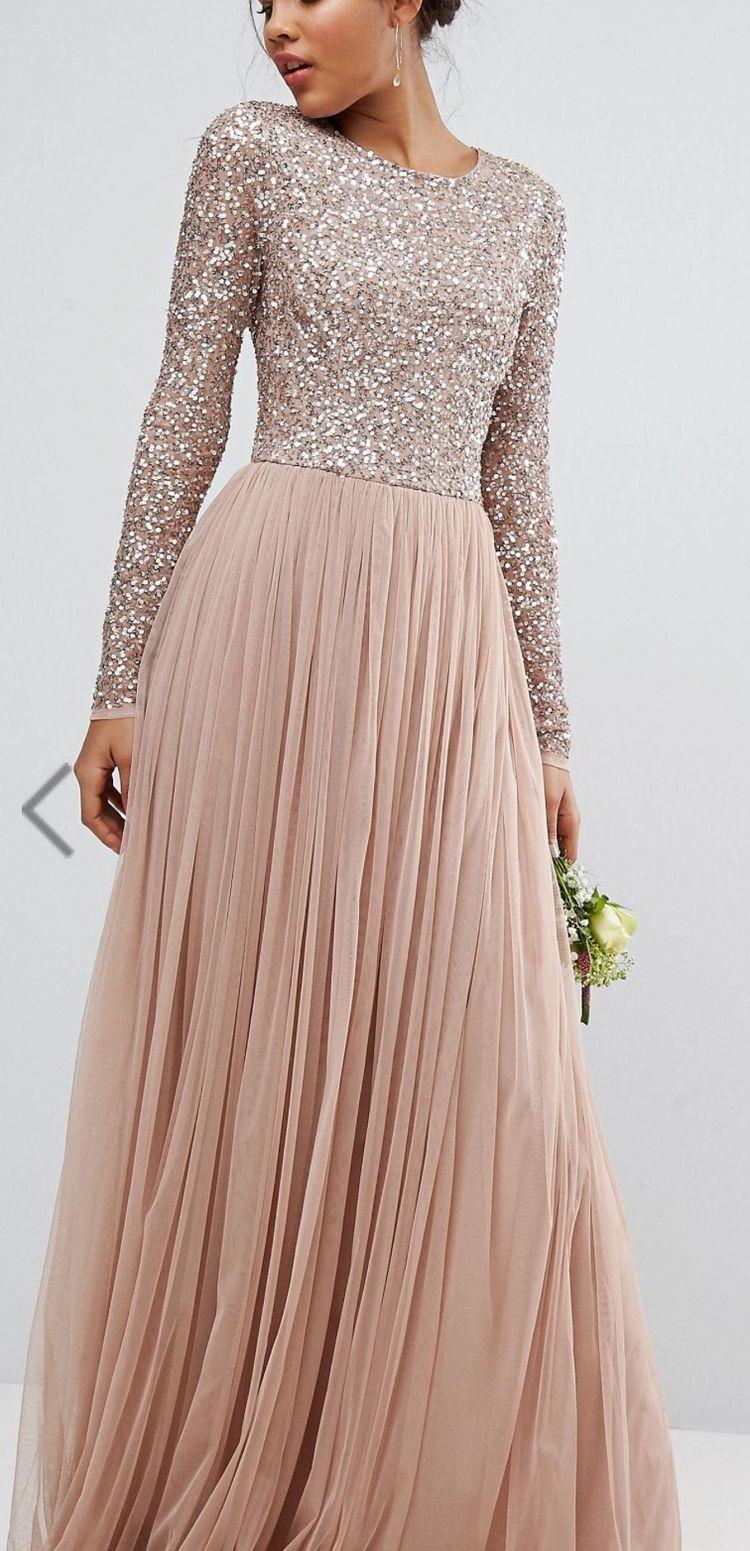 5e87de1317 Maya Tall Long Sleeve Sequin Top Maxi Tulle Dress - Gomes Weine AG