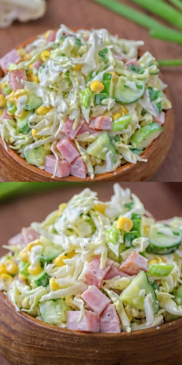 Made with fresh cabbage, cucumbers, ham, corn, and scallions, this tasty and crunchy Cabbage and Ham Salad is packed with vitamins and makes a quick lunch or side dish. #cabbage #ham #salad #lunch #recipeoftheday