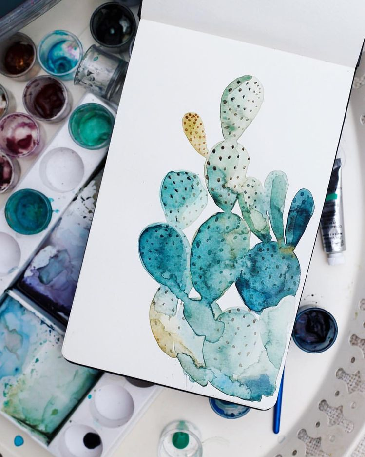 Quick portrait of Carl. . . . #cactus #painting #watercolor #watercolorpainting #cacti #moleskine