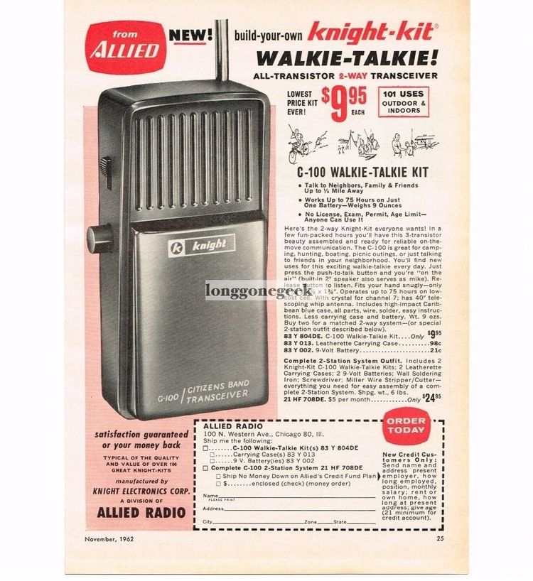 1962 Allied Radio Knight-Kit C-100 Walkie Talkie CB Radio Vtg Print Ad