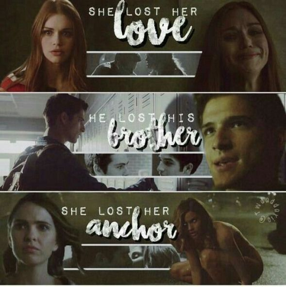 Stiles - Lydia Scott and Malia - I think it is interesting because everyone always says that Stiles is Malia's anchor but we know that Lydia has always been Stiles and his emotional tether. If you ever doubted Stydia this was your first clue. #boyfriendlostinterest