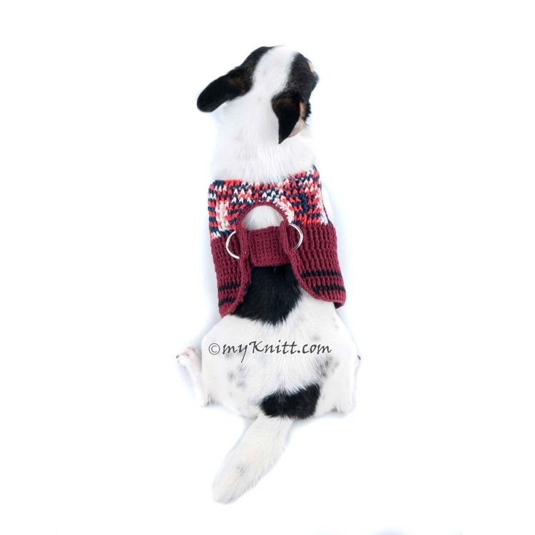 17f356a6747 Burgundy Velcro Dog Harness Adjustable Chihuahua Clothes with D Ring DH70
