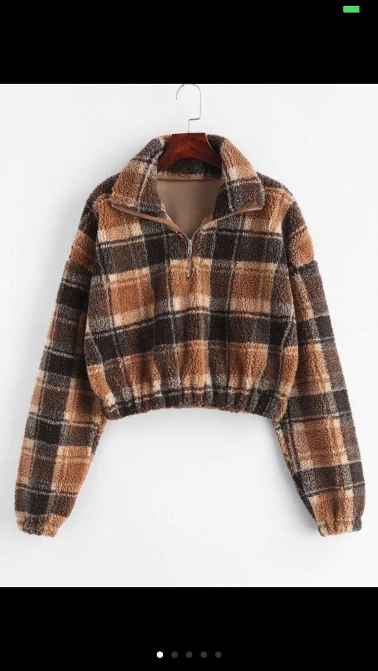 Plaid Crop Faux Fur Sweatshirt