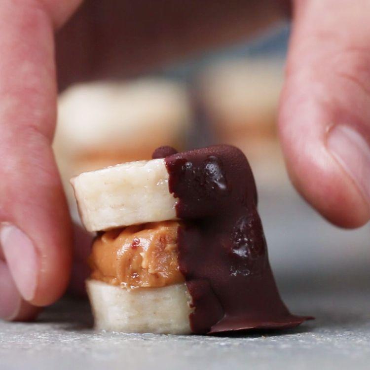 Dark Chocolate Peanut Butter Banana Bites