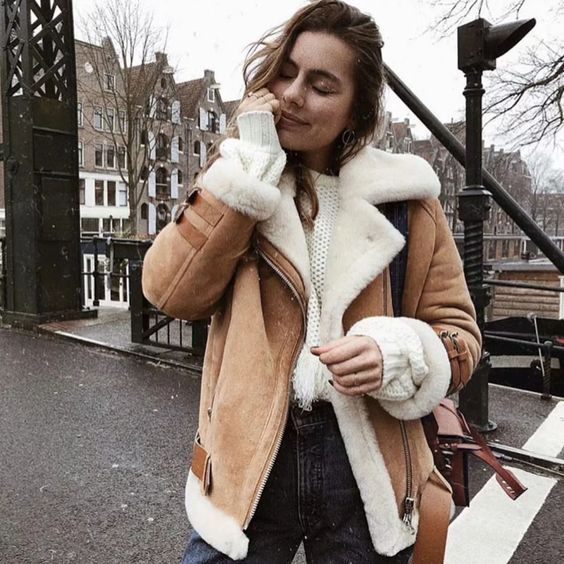 Last Left 50 Thanksgiving promo code extra 30%OFF code sunifty30 with any fur vest/cardigan added to cart.Get ready for your coming Vacation outfits now. suede shearling jacket brown oversized shearling jacket winter coats online #shearling #shearlingjacket #motojacket #suede #jackets