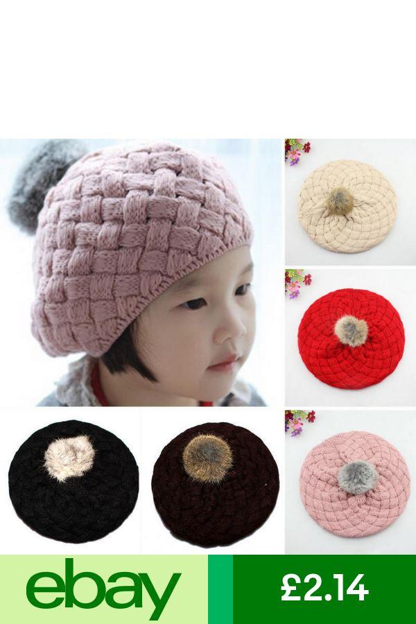 ed3002e7ba2 Baby Kids Girls Toddler Winter Warm Knitted Crochet Fur Beanie Hat Beret Cap